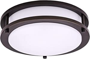OSTWIN 10 Inch Flush Mount Ceiling Light-Dimmable LED Light Fixture for Bedroom Bathroom-16 W (100W Eq.)-1120 Lm-5000K (Daylight)-Oil Rubbed Bronze Finish with Acrylic White Shade-ETL&Energy Star