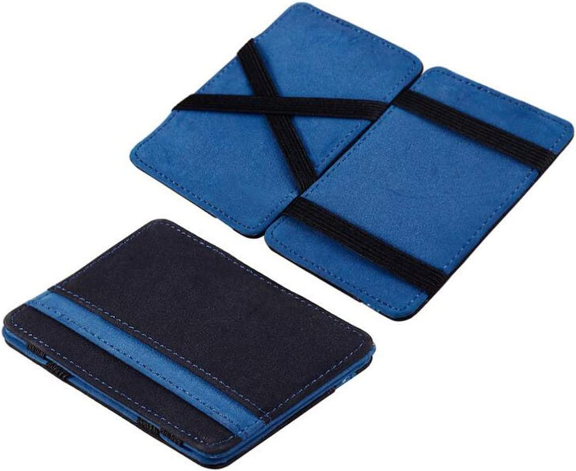 Saisiyiky Mini Carteras monedero Grind neutral Magia monedero Bifold Billetera de cuero Purse Card (Azul)