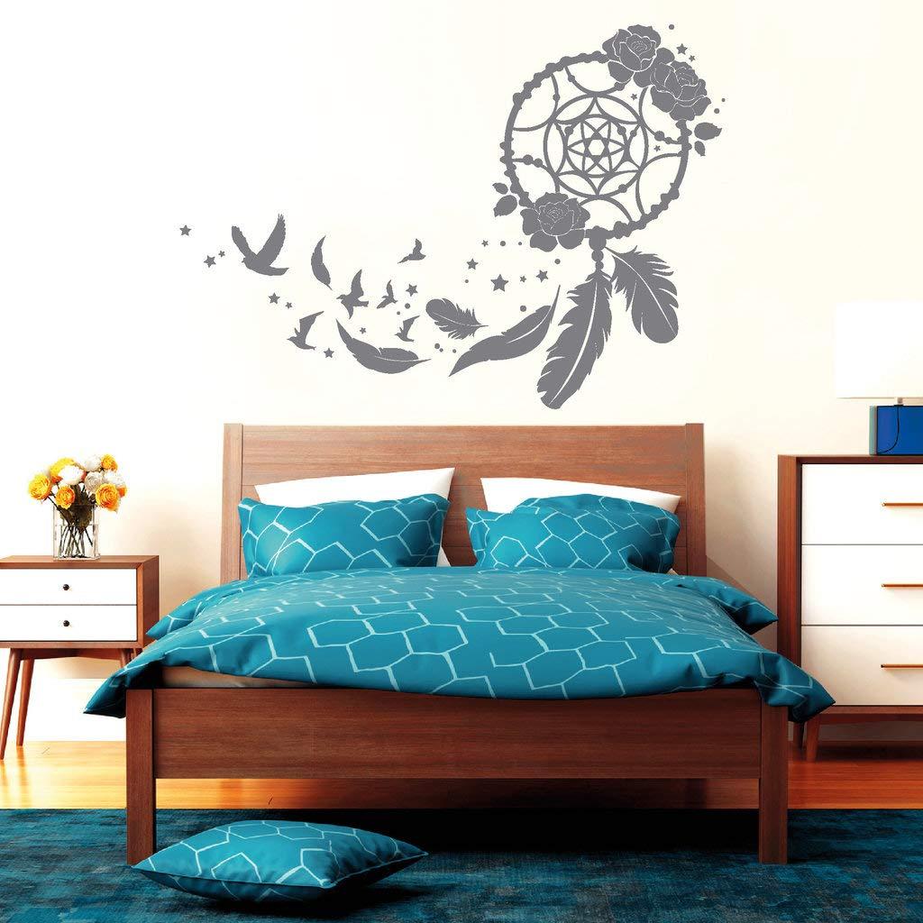 Wandtattoo Traumfänger mit Rosan, Vögeln und und und Federn türkisblau   115 cm hoch x 163 cm breit B01GE1GSM2 Wandsticker & Wandfiguren a2e40c