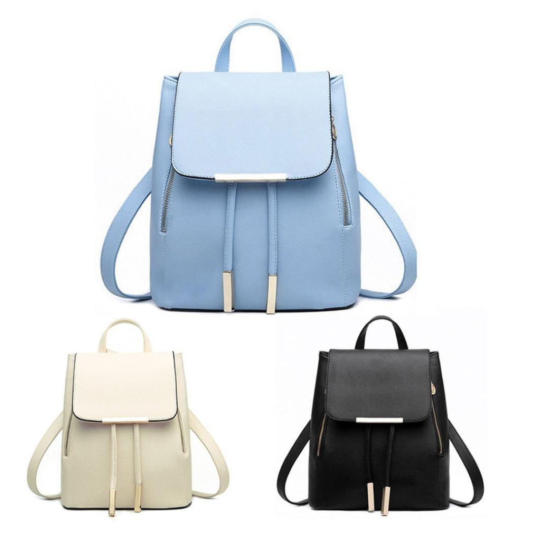 Amazon.com  Prettymenny Travel Shoulder Bag Women Leather Backpacks  Schoolbags Mochila Feminina (Blue)  Clothing b84c83dd86470