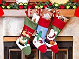"3 Pcs Set - Classic Christmas Stockings 18"" Cute Santas Toys Stockings (Embroidered)"