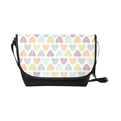 Crossbody Bag leaves pattern Black Nylon Daypacks Casual Messenger Shoulder Bag