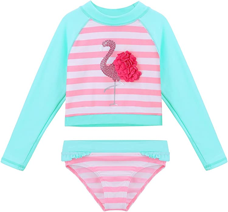 b18cb708d3373 TFJH E Girls Swimsuit Kids Rash Guard Suit Long Sleeve Sunsuits UPF 50+ UV 3