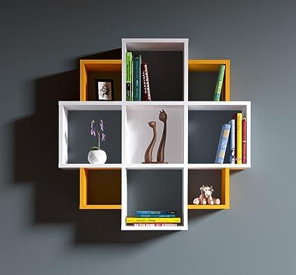Homidea Bloom – Mensola da Parete – Bianco/Arancione – Libreria – Mensola  da Appendere – Mensola Decorativa per Soggiorno in Design Moderno.