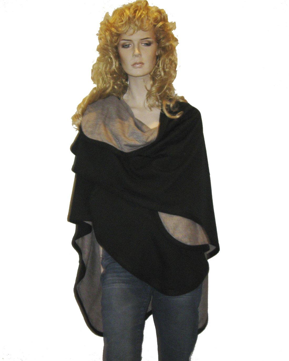 Cashmere Pashmina Group- Cape Woolen Reversible Ruana Knitted Poncho Shawl Cardigans Sweater Coat (Black/ Stone)