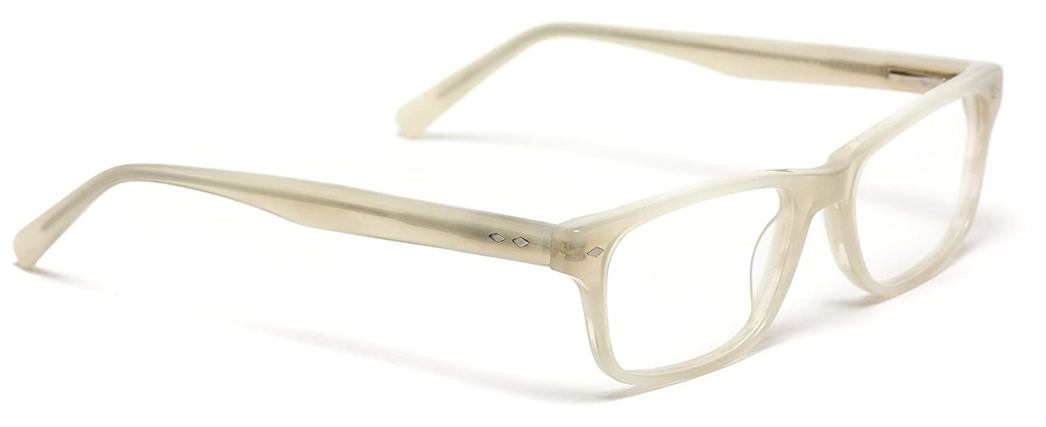 982f88be3c9 Amazon.com  WearMe Pro -Rectangular Acetate Optical Frame Flex Hinge Glasses  (Beige Frame)  Clothing