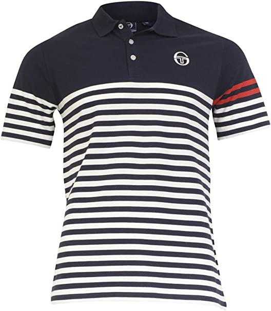 Mens Sergio Tacchini Navy Carter Tennis Polo Shirt S