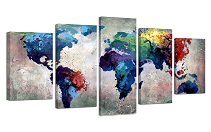 Amazon ardemy canvas world map painting watercolor 5 panels ardemy canvas world map painting watercolor 5 panels framed gallery wrapped wall art vintage antique gumiabroncs Gallery