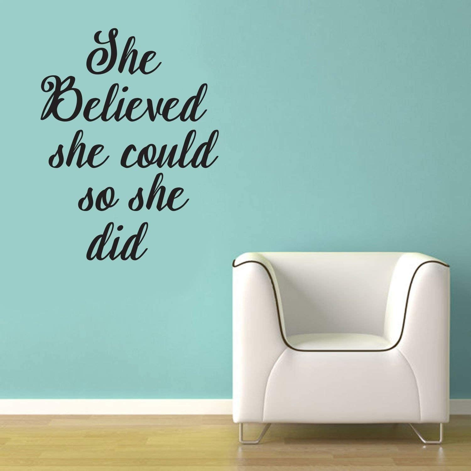 """She Believed She Could So She Did- Inspirational Life Quotes - Wall Art Decal - 29"""" x 22"""" Decoration Vinyl Sticker - Bedroom Living Room Wall Decor - Apartment Wall Decoration - Peel Off Stickers"""