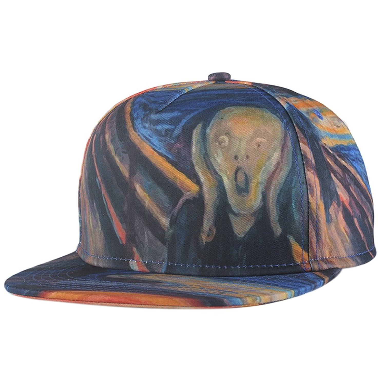 ChezAbbey 3D Printed Solid Brim Hip Hop Adjustable Hat Snapback Baseball Cap