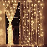 Ollny LED Window Curtain Icicle Decorative Lights - 300 LED String Fairy Lights Christmas Wedding Party Backdrops Home Outdoor Decorative Low Vlotage Lights 3m x 3m