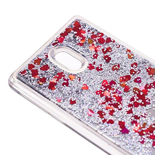 Flüssig Spiegel Hülle für Nokia 3, Silikon Case Schutzhülle Handyhülle Glitzer Flüssig 3D Bling Bling Liebesherzen Glitter Glänzend Luxus Treibsand Liquid Sparkle Cover Tasche für Nokia 3,Hancda Handy Rot Silber