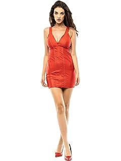 abnehmb.Armstulpen KouCla Kleid Wetlook Minikleid mit 2-Way-Zip