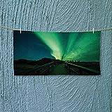Nalahome Gym Shower Towel Wooden Bridge Solar Sky Scenic Radiant Rays Arctic Magic Scenery Fern Green Dark Soft Cotton Machine Washable L35.4 x W11.8 inch