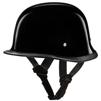 Daytona Helmets Motorcycle Half Helmet German- Hi-Gloss Black 100% DOT Approved: Automotive