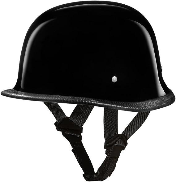 Daytona Helmets Motorcycle Half Helmet German- Hi-Gloss Black 100% DOT Approved