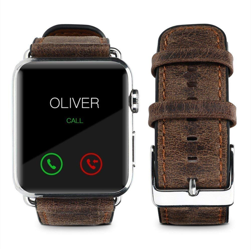 Café Digi 42mm / 44mm Genuine Leather Replacement iwatch Band with Secure Metal Clasp Buckle for Apple Watch, iwatch band for Apple, Compatible with Series 1, 2, 3, 4 (42mm,and 44mm Retro style - Brown)