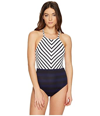 7bff4681c02 Tommy Bahama Women's Channel Surfing High-Neck One-Piece Swimsuit Black  Swimsuit