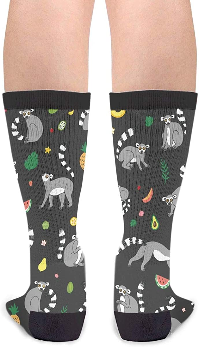 Unisex Fun Novelty Crazy Crew Socks Lemur Animal With Tropical Fruits Dress Socks