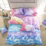 Nattey Cotton Blend Cloud Sky Twin Queen King Size Bed Pillowcase Duvet Quilt Cover Set Twin Queen King (King)