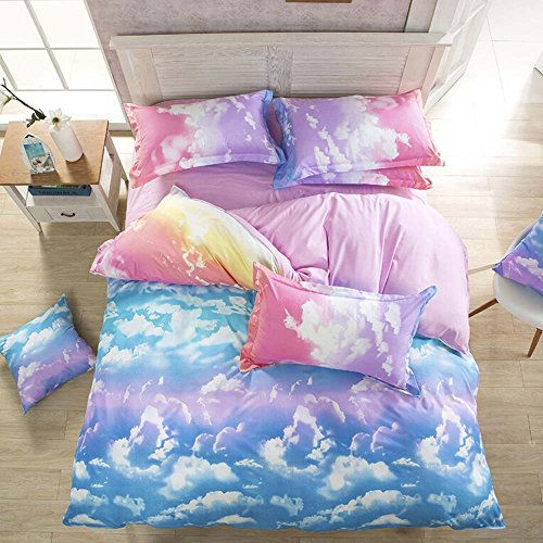 Nattey Cloud Sky Duvet Cover Set Rainbow Bedding - Lightweight and Soft(Twin,Pink and SkyBlue) (Duvets For Girls)