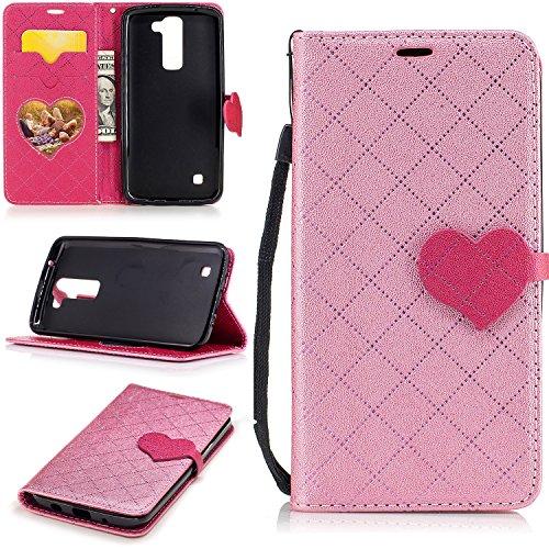 Meet de LG K102017Funda de piel, [funda tipo cartera] [ranuras para tarjetas efectivo bolsa de cambio de piel sintética moda Color sólido Retro Entramado Diseño] suave TPU silicona parachoques Inter rosa