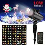 Christmas Light Projector ,20pcs Switchable Pattern10W RGB LED Landscape Spotlight ,Kingtoys Indoor and Outdoor Projection Lights for Xmas, Halloween, Holiday Party, Thanksgiving Day,Wall Decoration