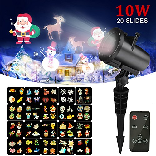 Christmas Light Projector ,20pcs Switchable Pattern10W RGB LED Landscape Spotlight ,Kingtoys Indoor and Outdoor Projection Lights for Xmas, Halloween, Holiday Party, Thanksgiving Day,Wall Decoration by kingtoys