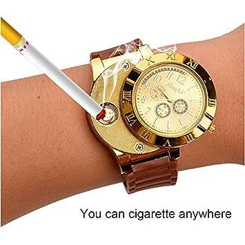 ENJOY-UNIQUE Nuevo Militar USB mechero Reloj de Hombre Casual Relojes de Pulsera con Resistente al Viento sin Llama mechero Encendedor de cigarros, ...