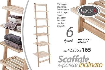 Mueble inclinado escalera toallero baño de madera 6 estantes Shabby Chic 42 x 35 x 165 cm de apoyo AOX-759307: Amazon.es: Bricolaje y herramientas