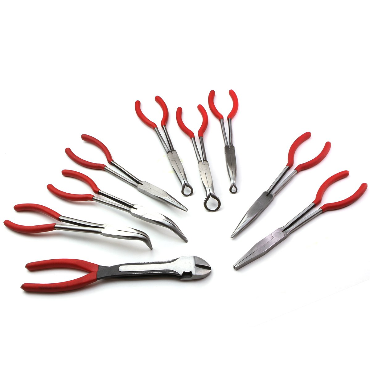 XtremepowerUS 9pc 11'' inch Long Reach Plier Mechanics Electricians Craft & Hobby Tool Set