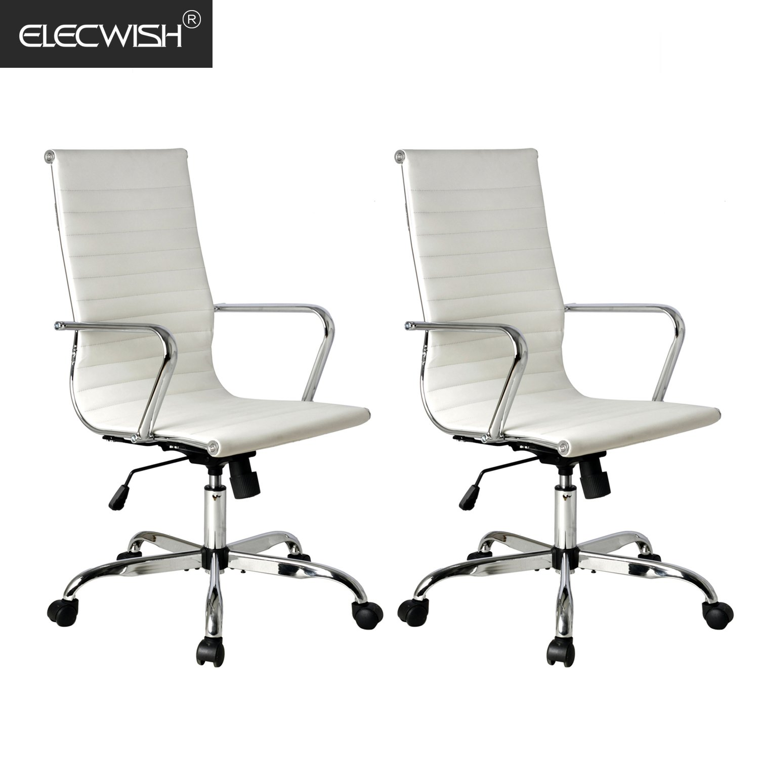 Elecwish 2pcs adjustable office executive chair high back tall ribbed pu leather wheels arm rest computer chrome base home furniture conference room