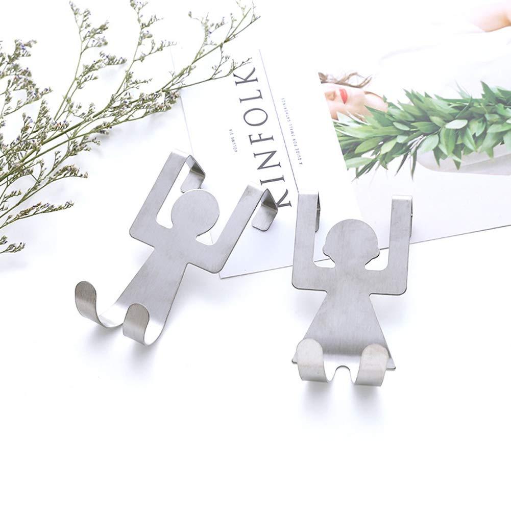 KINJOHI 2pcs Cartoon Humanoid Hook Door Back Hook Stainless Steel Wardrobe Home Kitchen Bathroom Hook