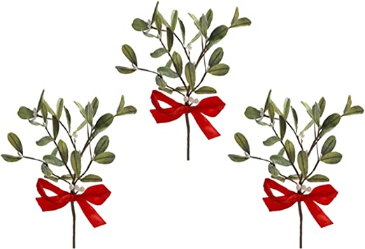 Mistletoe Pick With Red Satin Bow