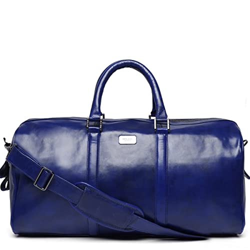 3e83a74ce7 Brune men hand painted navy blue leather duffle bag  Amazon.in  Shoes    Handbags