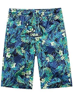 SSLR Men's Floral Quick Dry Swim Trunks Casual Hawaiian Aloha Board Shorts