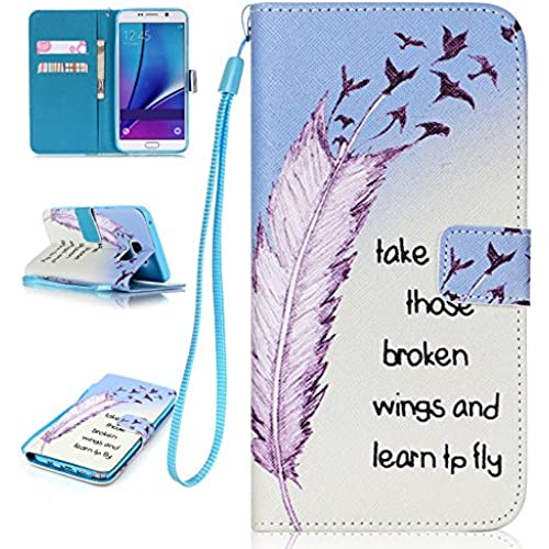 Galaxy S7 Case, S7 Case, Samsung Galaxy S7 Case, AMCHOICE(TM) (Fly Plume) PU Leather Wallet Case With Wristlet Sales