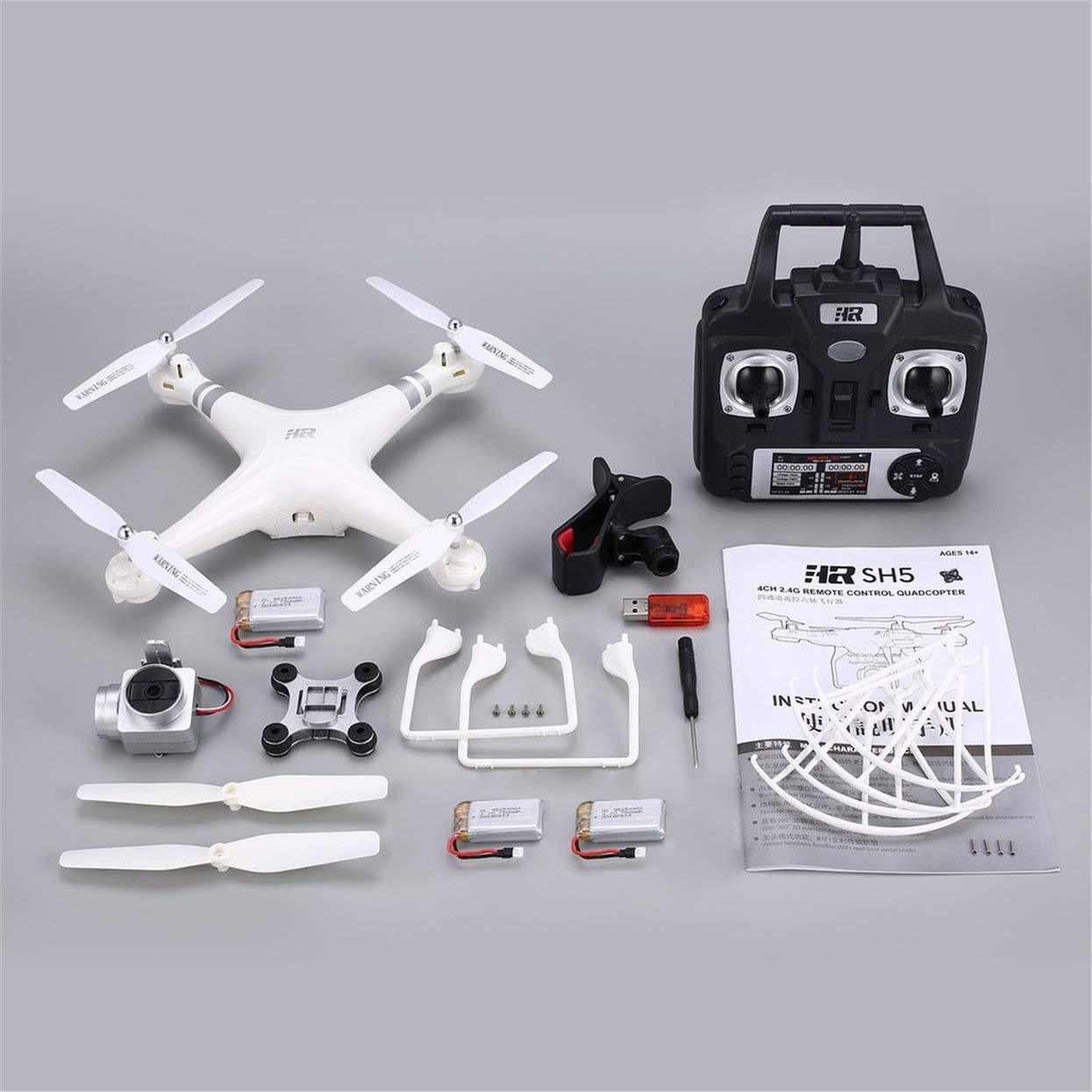 Tellaboull for 2,4 G FPV Drohne RC Quadcopter mit 3 Batterien 1080P Weitwinkel-WiFi HD-Kamera Live-Videohöhenposition Headless-Modus