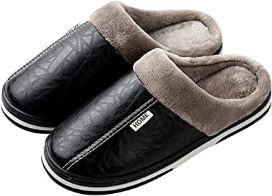 Amazon.com | Mens Womens Winter Slippers Waterproof Warm Slippers Leather  House Shoes Slip on Indoor Outdoor Shoes | Slippers
