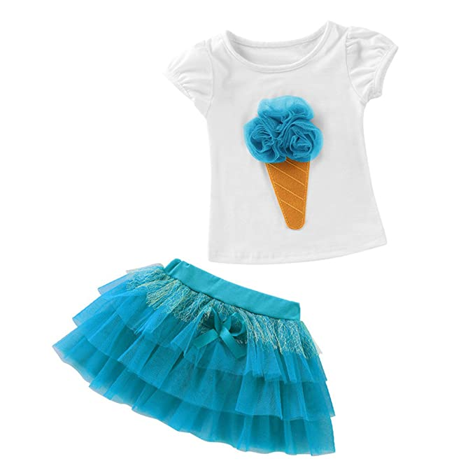 Pretty Infant Kids Baby Girls Headband T-shirt Lace Tulle Skirt Outfits Party UK