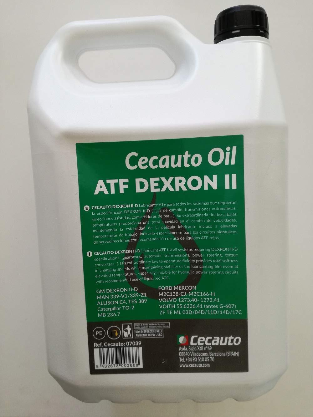 Cecauto 07039 - Aceite Dexron II D, Fluido para Transmisiones Automáticas, Automatic Transmission Fluid, 5 litros.: Amazon.es: Coche y moto