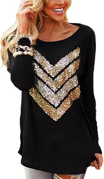 Mujer Blusa Color sólido Lentejuelas Cuello V Camisa Manga Larga Camiseta Pulóver: Amazon.es: Ropa y accesorios