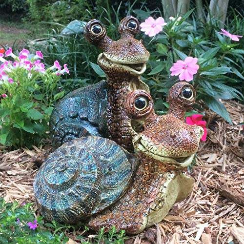 (Toad Hollow Homestyles Medium Snails Lying & Standing 2-Piece Brown Body with Assorted Shell Colors Whimsical Garden Statue)