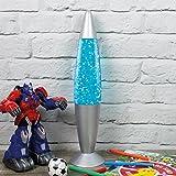 Global Gizmos 48670 E14 Small Edison Screw 25 Watt 1 Global Gizmos 16-inch Blue Glitter Lamp, Silve