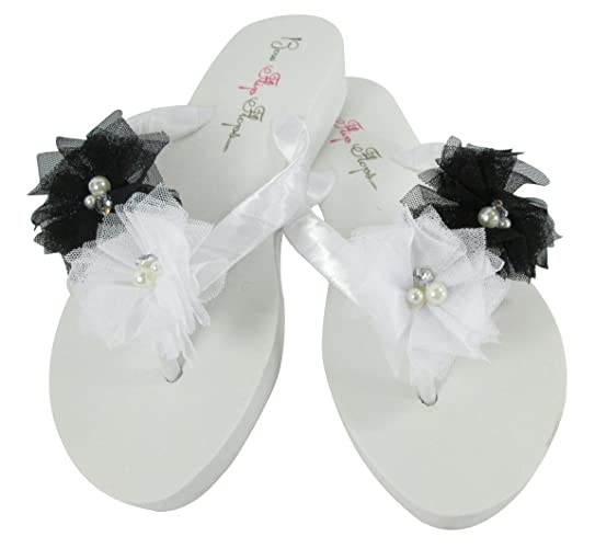 Amazon Low White Wedge Flip Flops With Black Tulle Flowers