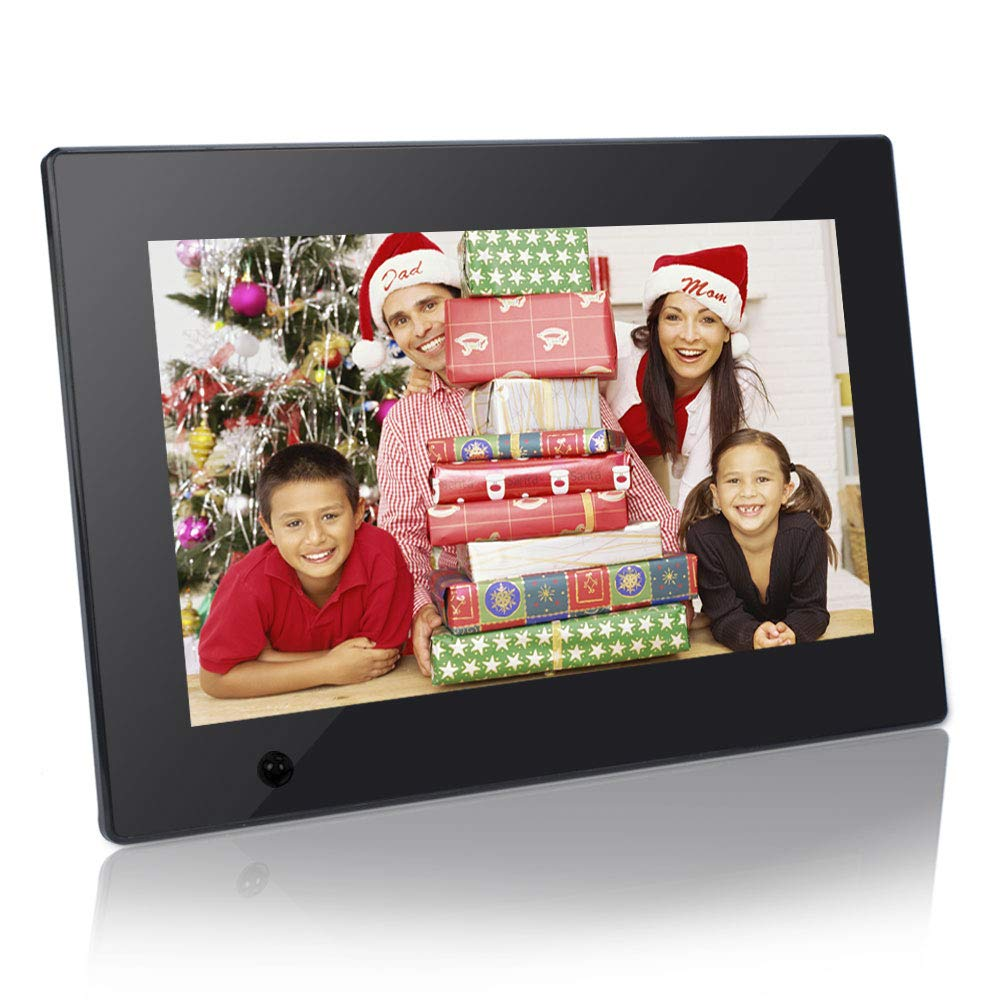 Digital Photo Frame 10 inch Electronic Picture Frame with Motion Sensor Gravity Sensor 1080P HD IPS LCD Display, Video Player/ MP3/ Calendar/Zoom in & Rotate Pictures/Remote Control [Jimwey]