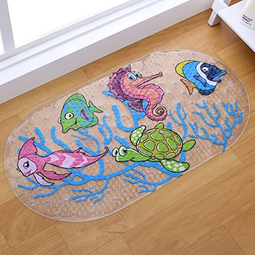 LUOYIMAN Bathtub Mat Non Slip Bath Shower Mat with Suction Cups (Fish)