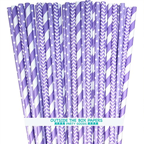 Lavender Lilac White Paper Straws Stripe Chevron Polka Dot - 7.75 Inches - 100 Pack - Outside the Box Papers -
