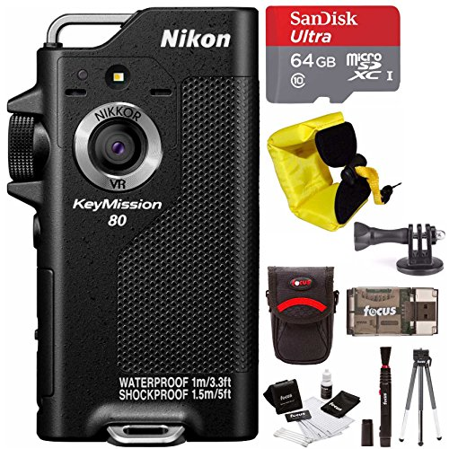 Nikon KeyMission 80 Action Waterproof Camera with 64GB micro