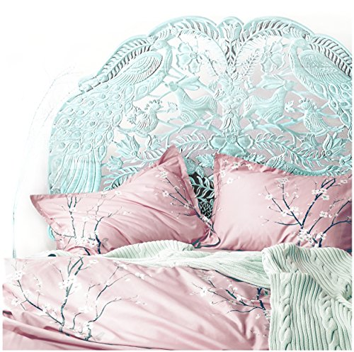 Japanese Oriental Style Cherry Blossom Floral Print Duvet Quilt Cover 3 Piece Cotton Bedding Set Full Queen or King Teal Blue and White (Queen, Light Pink)